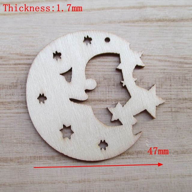 20pcsbag wholesale high quality moon stars die cutting angle wooden christmas decorations 48mm - Wooden Christmas Decorations Wholesale