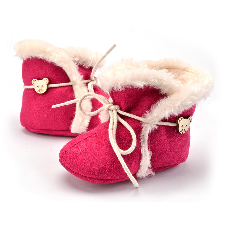 newborn fashion winter kids fur bow button cute baby girl soft sole toddler shoes non slip infant boot princess toddler shoes
