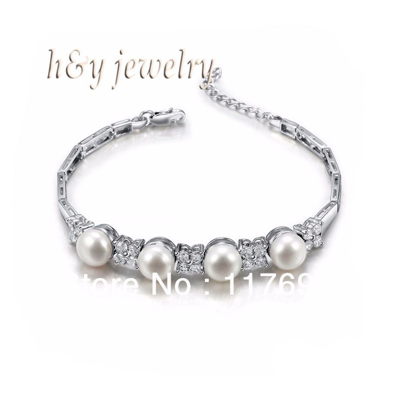 Sinya freshwater pearl silver bracelet for women pearl dia 8 8 5mm high luser length 16