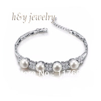 Sinya freshwater pearl silver bracelet for women pearl dia 8 8.5mm high luser length 16.7cm Hot sale
