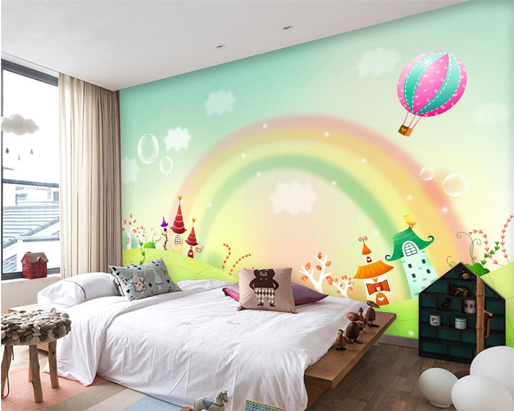 Beibehang Custom wallpaper cartoon rainbow beautiful fresh freshness color modern children living room background wall wallpaper in Wallpapers from Home Improvement