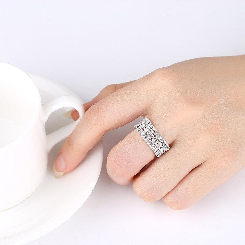 TREAZY 5pcs/lot Classic 3 rows Crystal Rhinestone Wedding Rings Sparkling Elastic Rings For Women Bridal Wedding Jewelry