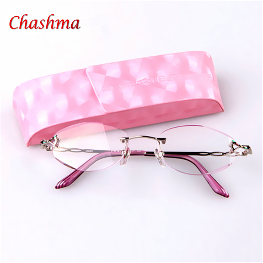 High Quality Ultra-light Titanium Alloy diamond cut trimming Rimless Reading Glasses Women Presbyopic Glasses with Case