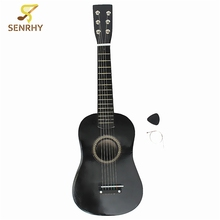 Black Wooden Basswood Plywood Panels Professional Guitar Acoustic Instrument Kids Music+Guitar Pick+Wire Strings  586*185*58mm