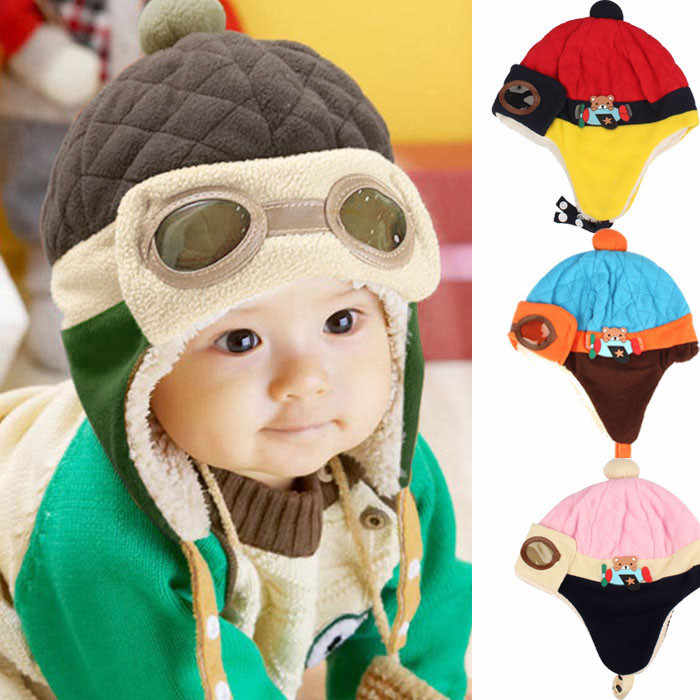 ONTO-MATO 2019 Fashion Cute Boys Winter Warm Cap Comfortable wool Pilot Hat Beanie Pilot Crochet Earflap Hats Boné de bebê #1958