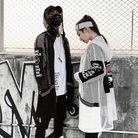 Womenspring summer hollow out mesh long jackets hooded windbreaker nightclub DJ punk hip hop coat women harajuku streetwear