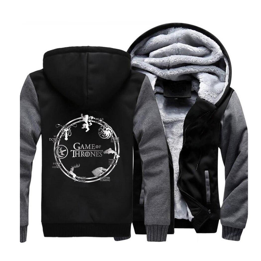 Game of Thrones Streetwear Hoodies Seven kingdoms Sweatshirt Men Fleece Thick Hooded Sportswear Coat Dragon Wolf Stark Jackets