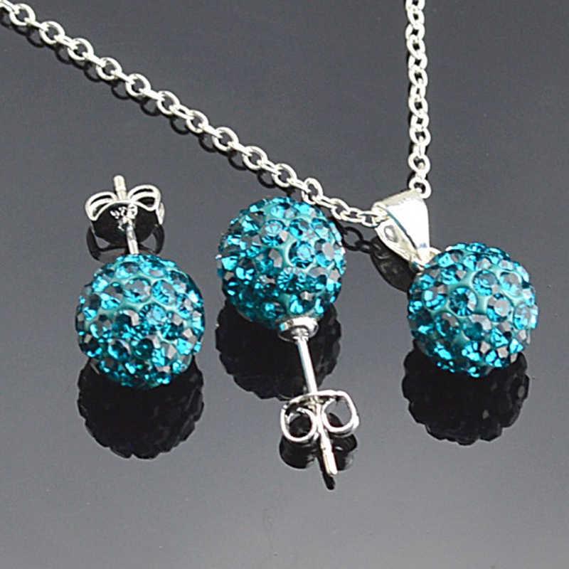 Einfache Ball Anhänger Halskette Stud Ohrringe Set Zubehör 925 Sterling Silber Braut Hochzeit Schmuck-Sets Für Frau
