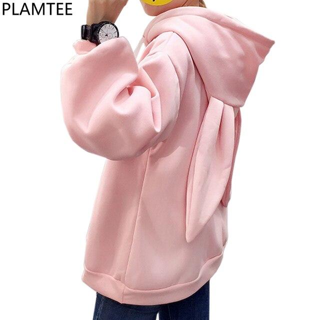 PLAMTEE Sweet Women Hoodies Sweatshirt Embroidery Hooded Hoody Rabbit Ears Oversize Hoodie Kpop Loose Long Sleeve Tracksuit 2017