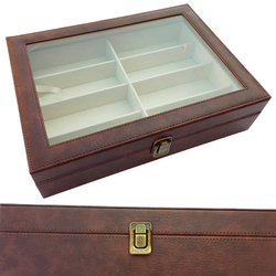 2018 nuevo 8 rejillas caja gafas de sol caso organizador titular gafas de sol de cuero caja de almacenamiento