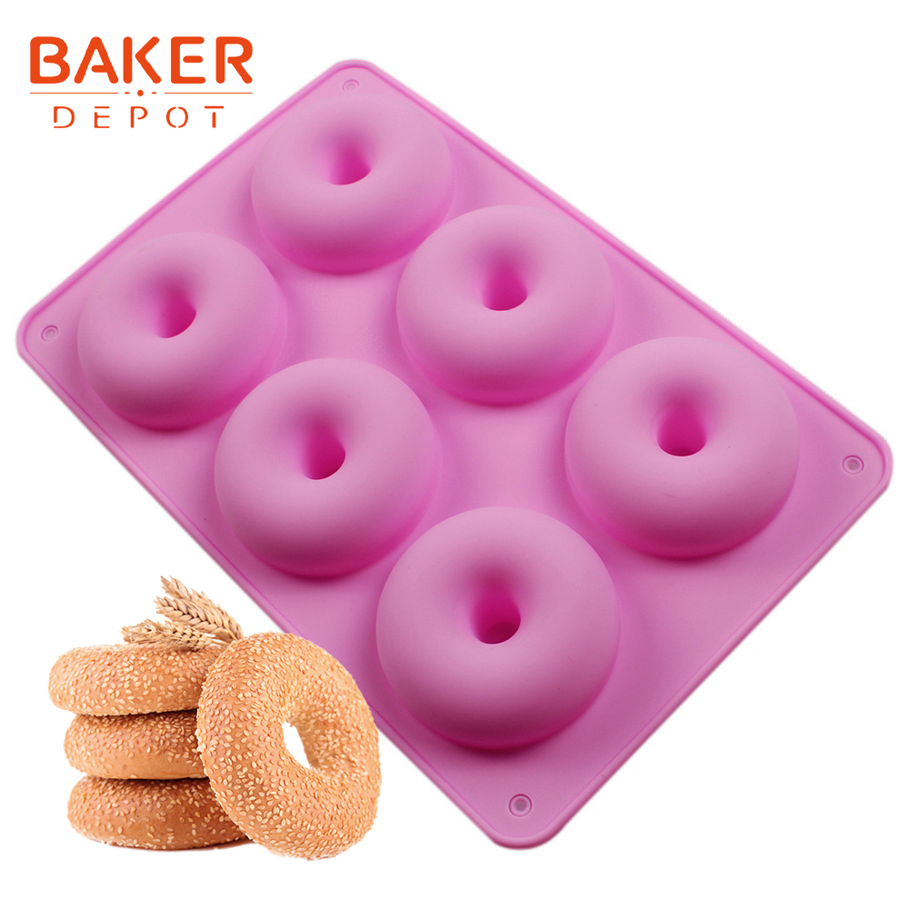 <font><b>BAKER</b></font> <font><b>DEPOT</b></font> Silicone Donut cake Molds bread dessert molds donuts cake bakeware baking tools soap pudding pastry mould 6 cavity image