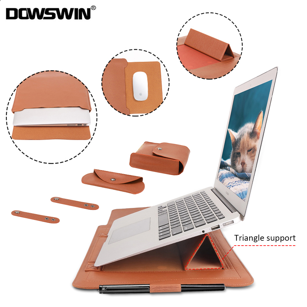 Laptop Bag PU Leather Sleeve Bag Waterproof Case For Macbook Air Pro 13 15 Portable Laptop Notebook Bag With Support Frame image