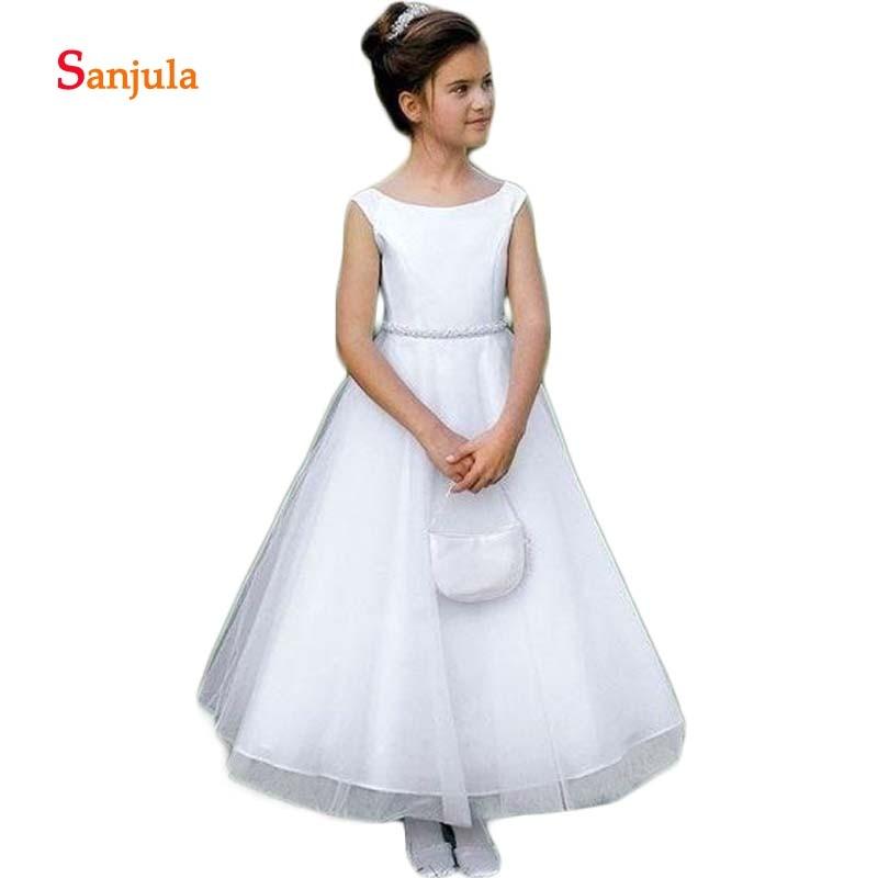 White   Flower     Girls     Dresses   Scoop Tank A-Line Beaded Waist Elegant Wedding Party   Dress   for Little   Girls   vestidos flores D86