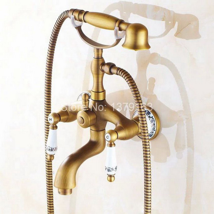 Antique Brass Wall Mounted Bathroom Tub Faucet Dual Ceramics Handles Telephone Style Hand Shower Clawfoot Tub Filler atf311