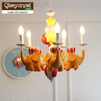 Qiseyuncai Royal flying elephant children's lamp American children's room chandelier model room soft boy girl bedroom lamp