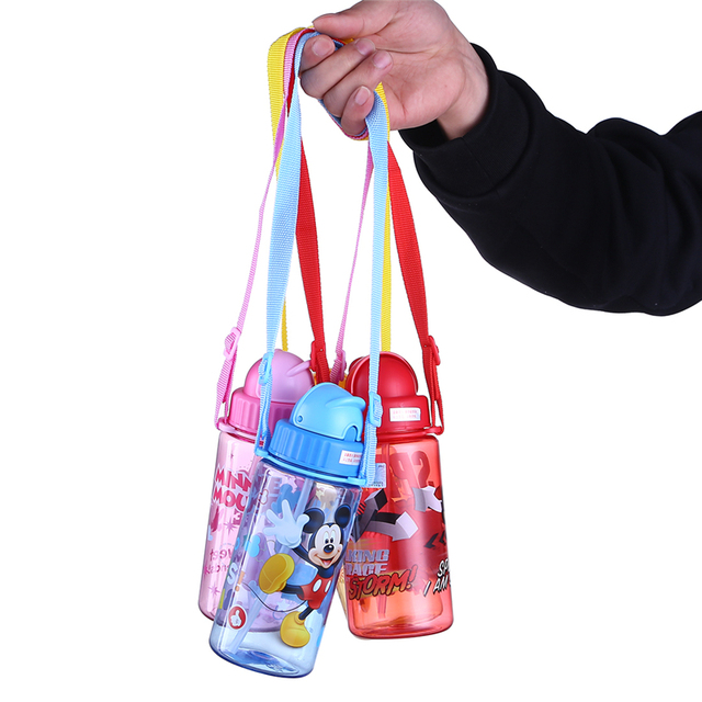 Disney 400ML Plastic Water Bottle Leakproof Mickey Straw Bottle For Water With Rope Protable Hiking Tumbler Cute Bottles For Kid