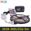 RGB LED Strip Light 3528SMD 60LED/s 5m Flexible Tape Light 16 Colors Change With IR Remote Controller,Power Adapter 2A DC12V