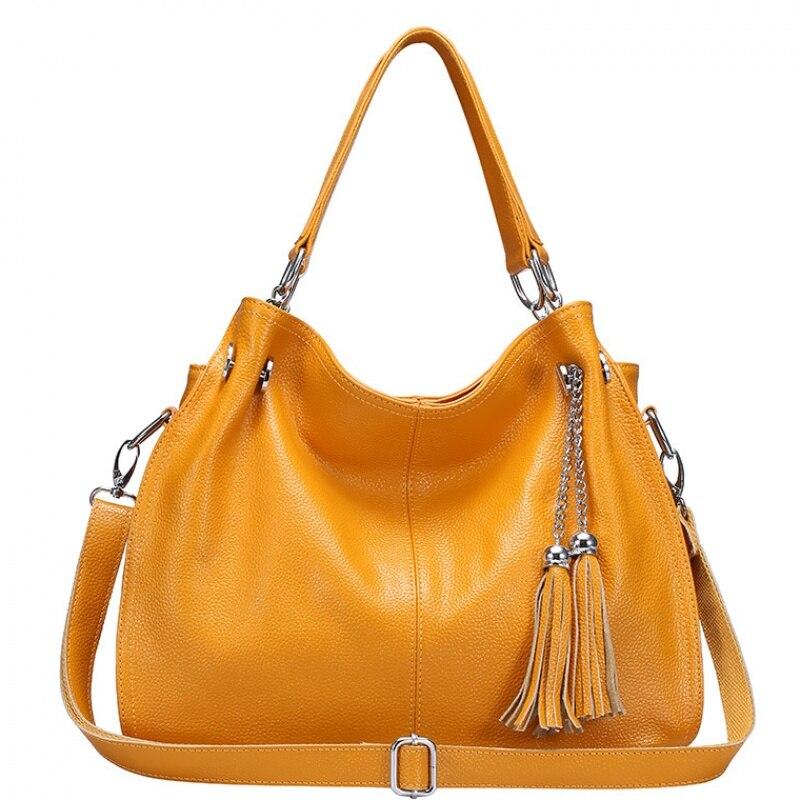 Bagaj ve Çantalar'ten Üstten Saplı Çanta'de Güzel Püsküller Sarı 100% Ilk Katman Hakiki Inek Deri Çanta Moda omuz askılı postacı çantaları Zarif kadın Çanta'da  Grup 1