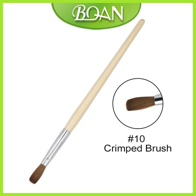 BQAN 1 PCS #10 #12 Nail Art Brush Crimped Brush 100%Kolinsky Nail ...