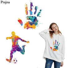Prajna Multicolored Iron-on Transfer Sport Man Soccer Hand-print Iron On Patches For Garment T-shirts Accessories Rainbow Jeans(China)
