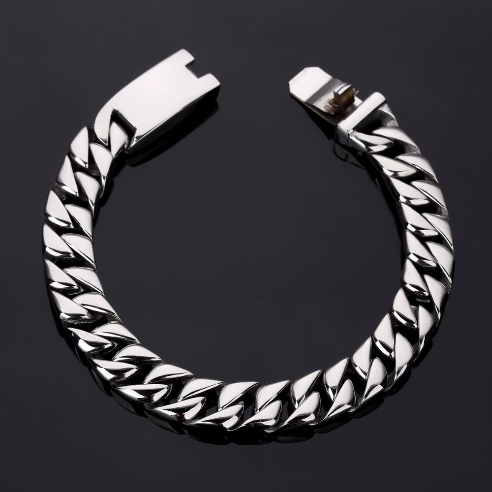 Cool Silvery Rock Motorcycle Gothic Bangles Bracelets Hip Hop Jewelry Stainless Steel Wristband Cuban Link Chains