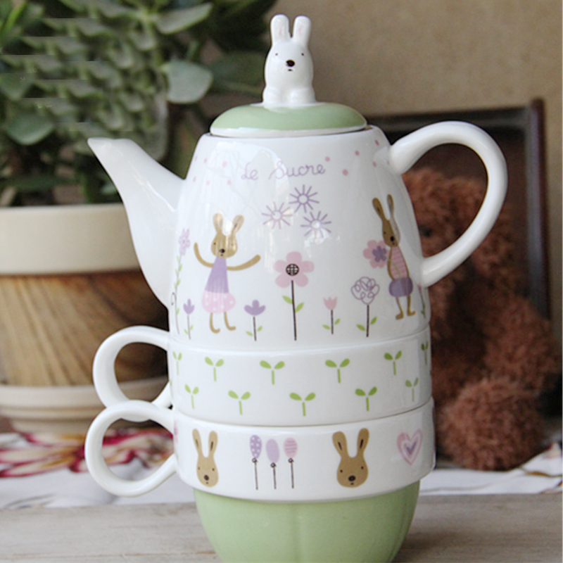 Rabbit Shape Teapot Teacup Drain With Tea Interval Ceramic