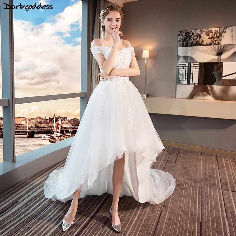 89709449a27e9f8 2018 низкая цена короткий рукав свадебное платье короткое спереди и длинное  сзади Кружева Аппликации Свадебные платья