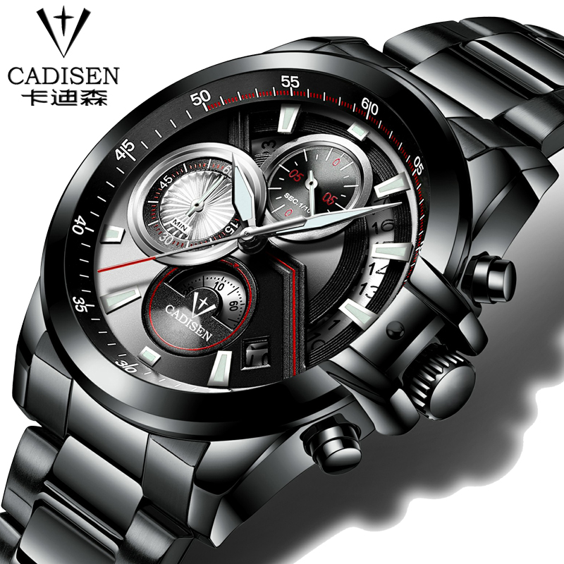 Men Luxury Brand cadisen Quartz Military Sport Watch Casual Men's Wristwatch army Clock full Leather steel relogio masculino liebig luxury brand sport men watch quartz fashion casual wristwatch military army leather band watches relogio masculino 1016