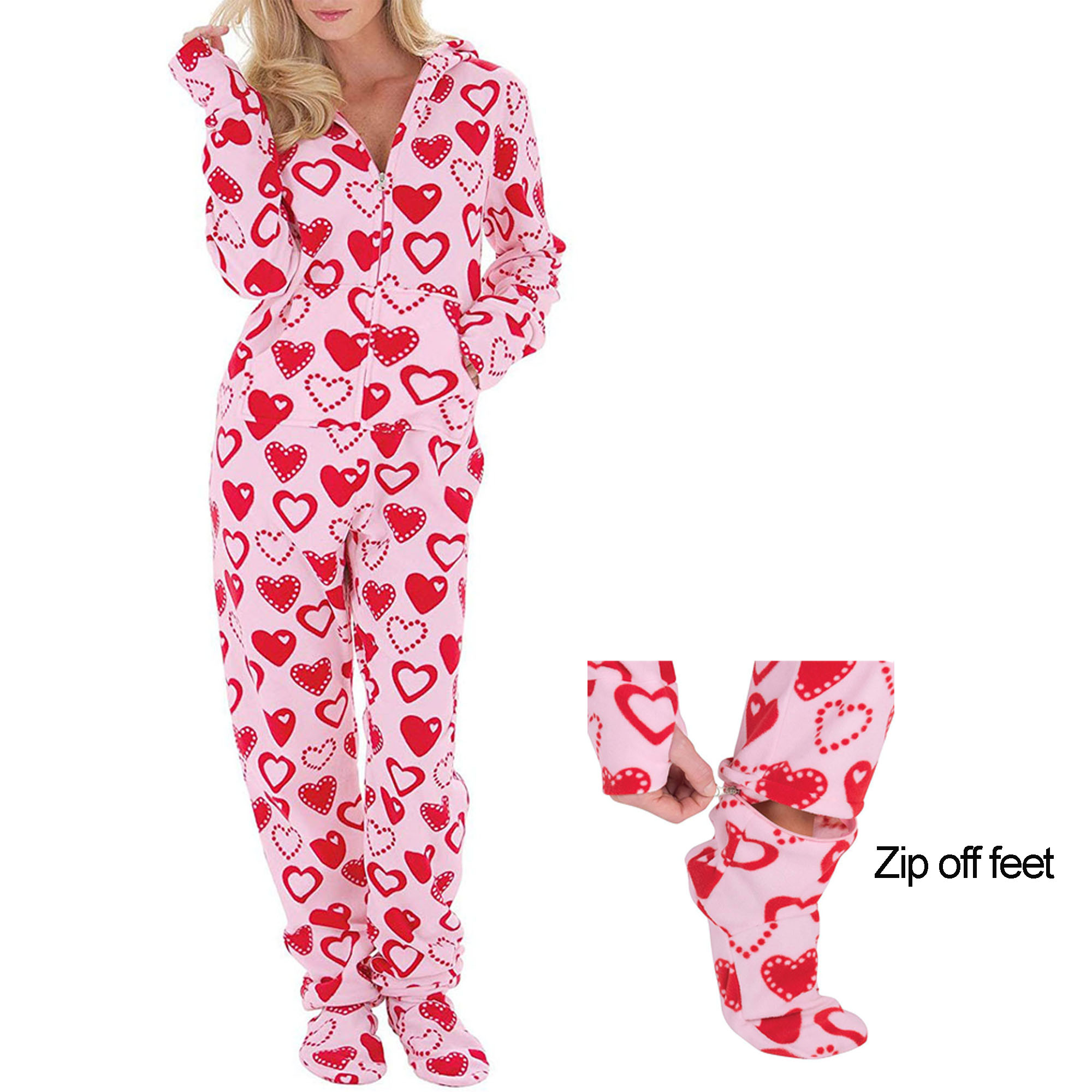 Women Fleece Printed Onesie Abdl Footed Sleeper Adult Footed Pajamas
