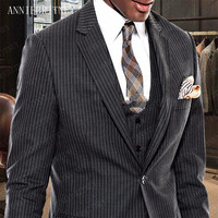 ANNIEBRITNEY Men Suit 2019 Formal Men's Stripe Blazer Pants Set Slim Fit Groomsmen Wedding Suit Tailored Men Suit Man Tuxedos