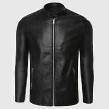 Байкерская кожаная мужская замшевая куртка из искусственной