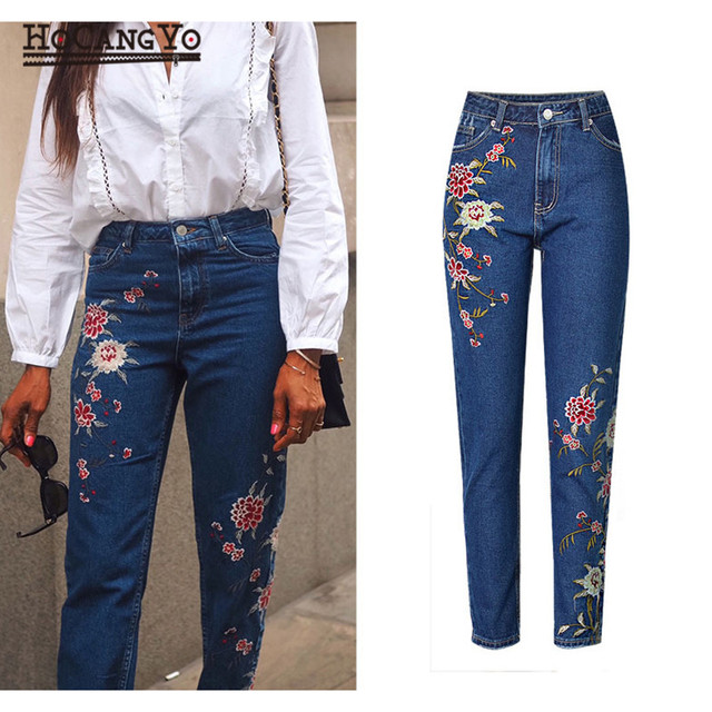 HCYO Women High Waist Jeans Embroidery Slim Ripped Jeans for Women Denim Pants Dark Blue Women's Pants Jeans Casual Skinny Jean