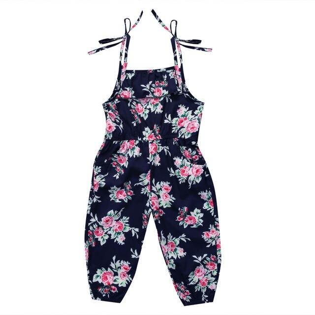Обувь для девочек Комбинезоны для женщин Летняя Новинка 2017 г. для маленьких девочек Цветочный принт Комбинезоны для девочек Комбинезон Корректирующие боди для женщин мягкая Обувь для девочек на подтяжках sunsuits одежда