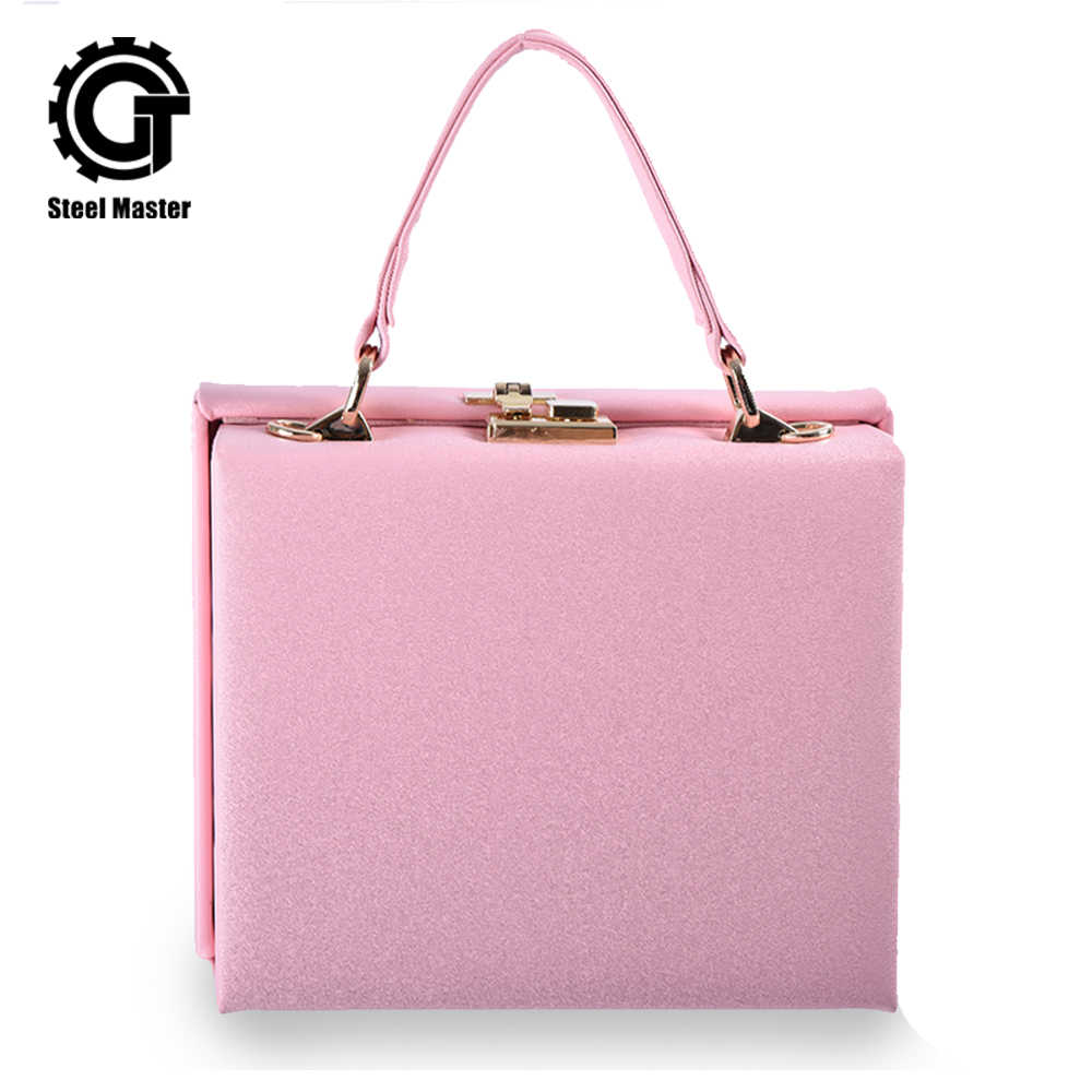 Women's Handbag Pink Square Box Leather Bag Metal Push Button Fashion Totes