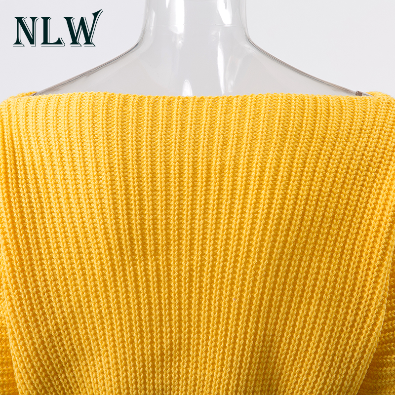 NLW Lace Up Crop Casual Women Sweater 19 Autumn Winter Knitted Pullovers Long Sleeve O Neck Loose Jumper Top Bandage Sweater 12