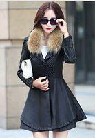 M 4Xl Black Red Womens Winter Spring Slim Long Sheep Skin Leather Jacket Korean Large Size