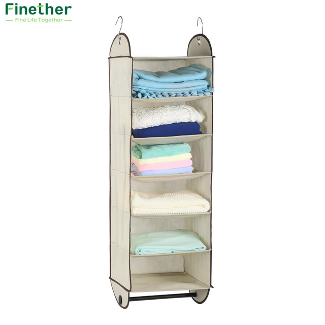 Finether Foldable 6 Shelf Fabric Hanging Closet Organizer For Accessory And  Clothes Storage With Garment