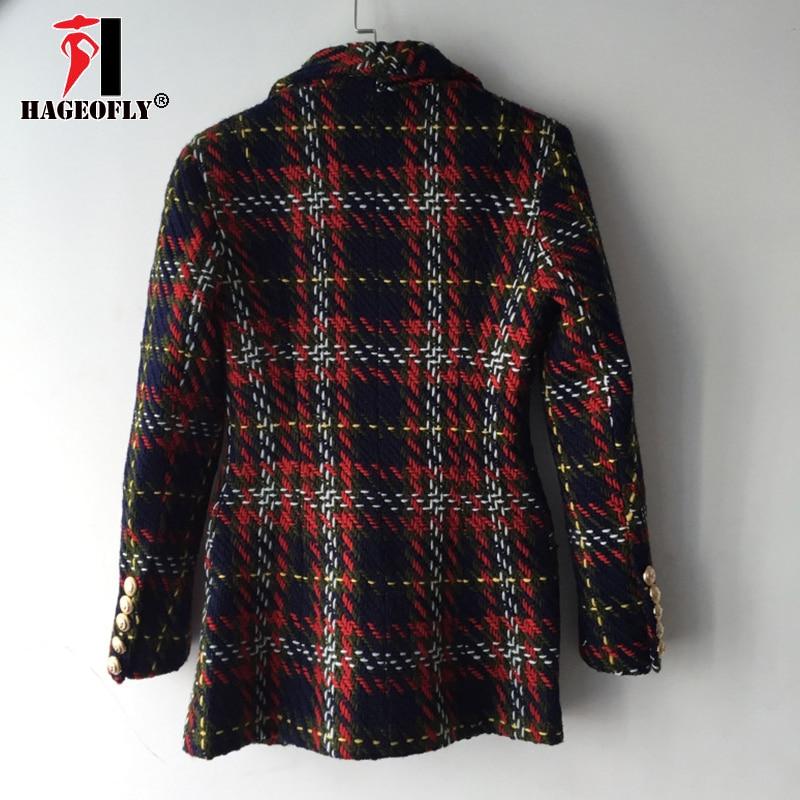 Travail Ligne As Haute Design Treillis Blazers Tweed Photo Couleur Qualité Bureau Mince De Bouton Ouest Laine 2019 Veste Nouveau Double Dames Femmes 3j5q4RAL