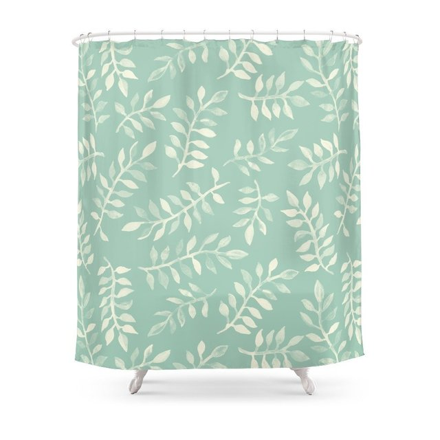 Painted Leaves A Pattern In Cream On Soft Mint Green Shower Curtain Set Waterproof Polyester Fabric For Bathroom With Floor Mat