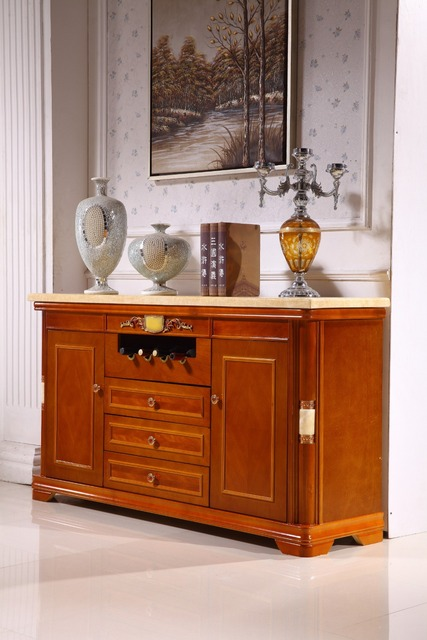 wooden console table side cabinet storage drawer marble top made in