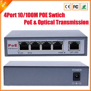 CCTV 4-Port 10/100M PoE Net Switch/Hub Power Over Ethernet PoE&Optical Transmission For IP Camera System Network Switches