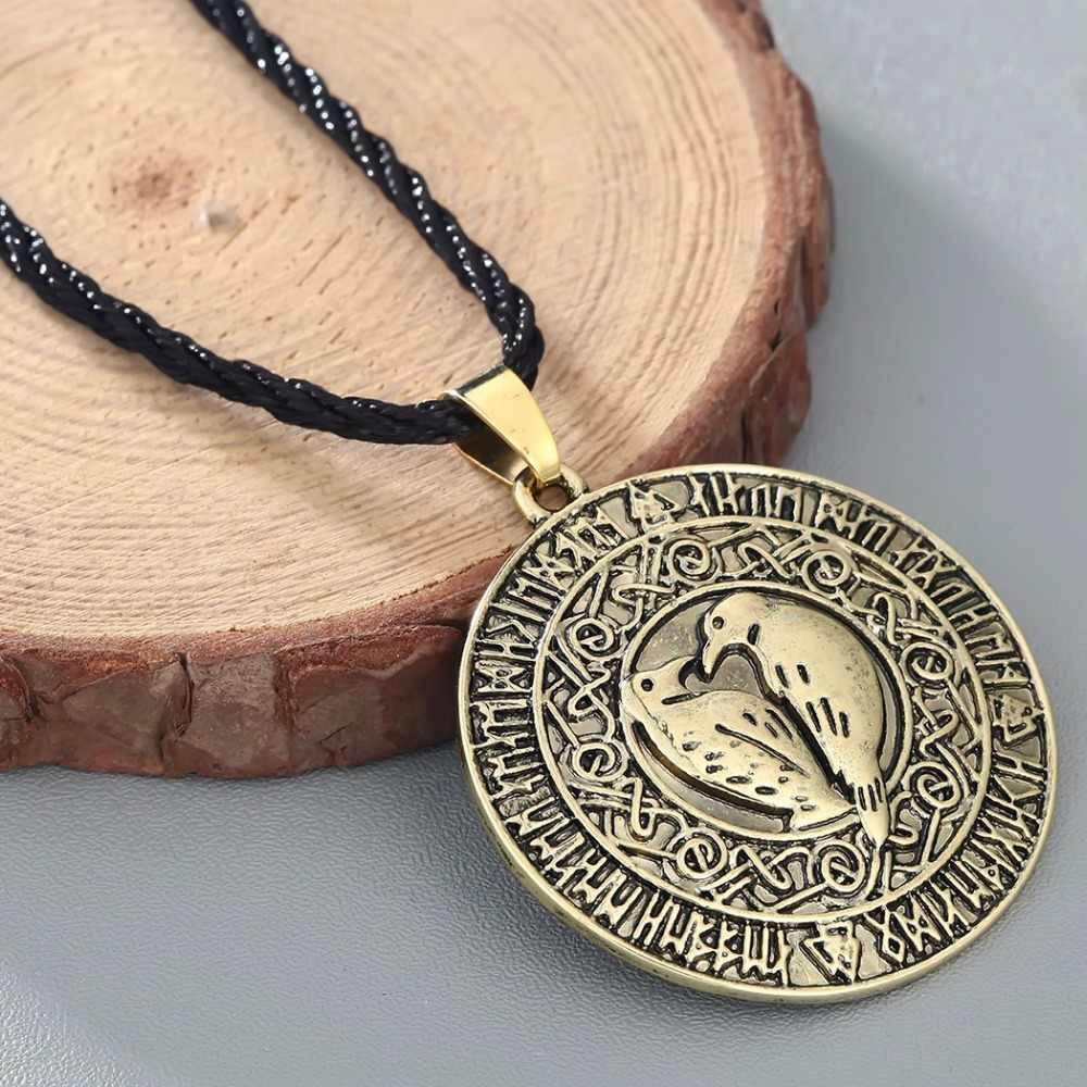 CHENGXUN męska Gothic Punk Raven Rune czarny naszyjnik wisiorek chłopcy Norse Viking biżuteria klasyczny prezent