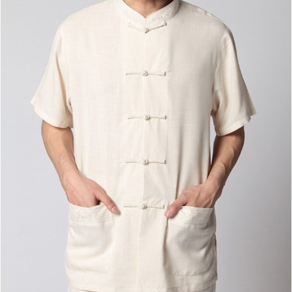 8d0f90fd4 صيفي الرجال الصينية كتان الكونغ فو قميص مع جيب حجم SML XL XXL XXXL شحن  مجاني 2350