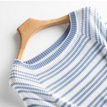 2019 Summer Small Perfume Fresh Sweet Lady Shoulder Short Sleeve T-Shirt Slim Striped Knit Silk T-Shirt цена