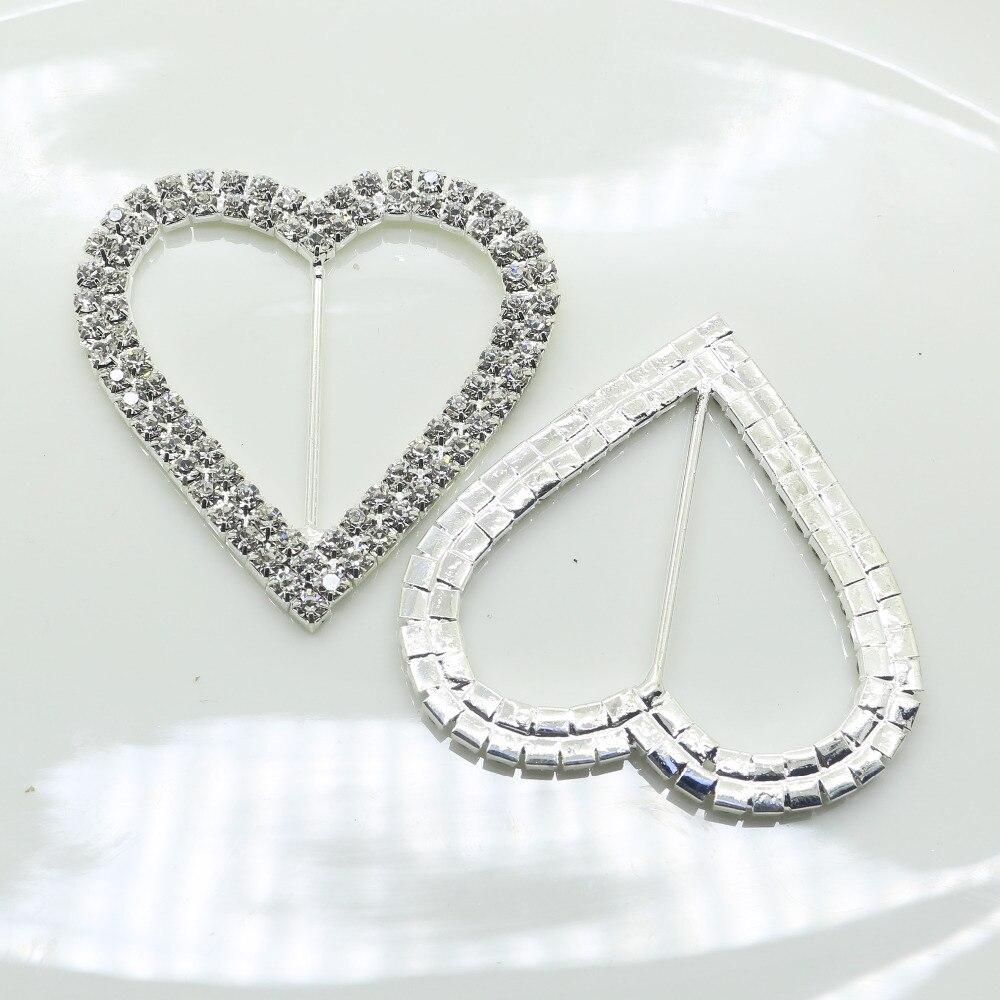Romantic 10 pc Heart 61*61mm Stunning Clear Rhinestone Buckle Fibbia cuore Per Invito A Nozze Diamante Ribbon Sliders