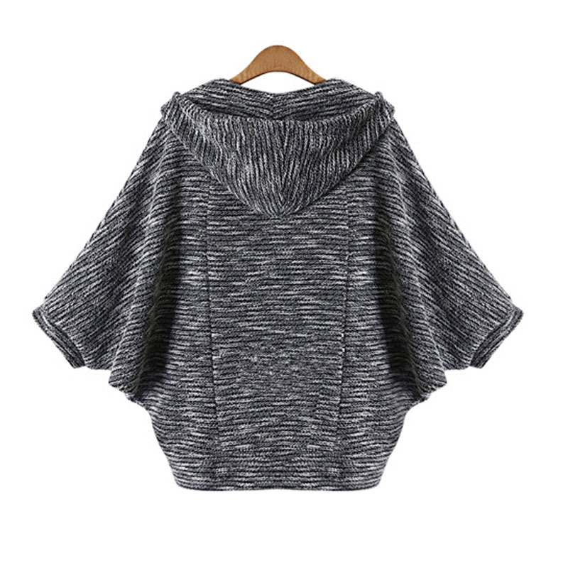 Knitted Cardigan Three Quarter Hooded Poncho
