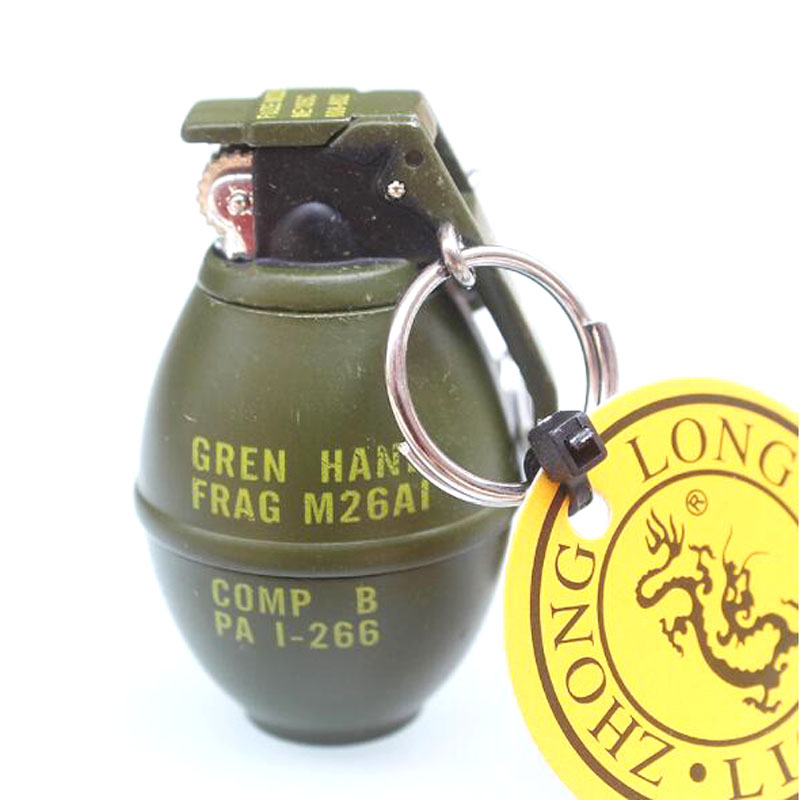 Metal Green Military Army M26A1 Frag Pomegranate Grenades Smoke Bomb Model Cigarette Cigar Lighter With Key Chain