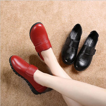 2019 Women Flat Shoes Woman Loafers Plus Size Women's Fashion genuine leather Casual Shoes lace up Female Footwear