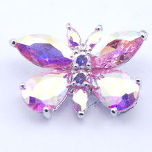 New Rose Simulado Rainbow Mystic Topaz Mujer 925 Plata Cristal colgante TE371