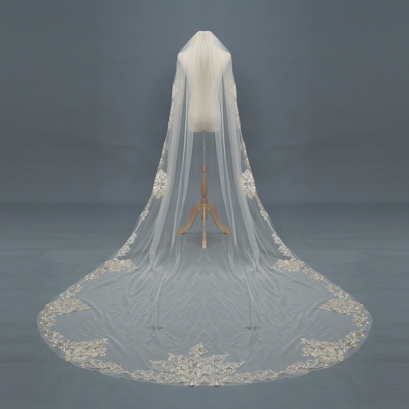 Champagne Ivory White Wedding Veils Bridal Cathedral 1T Lace Appliques With Comb